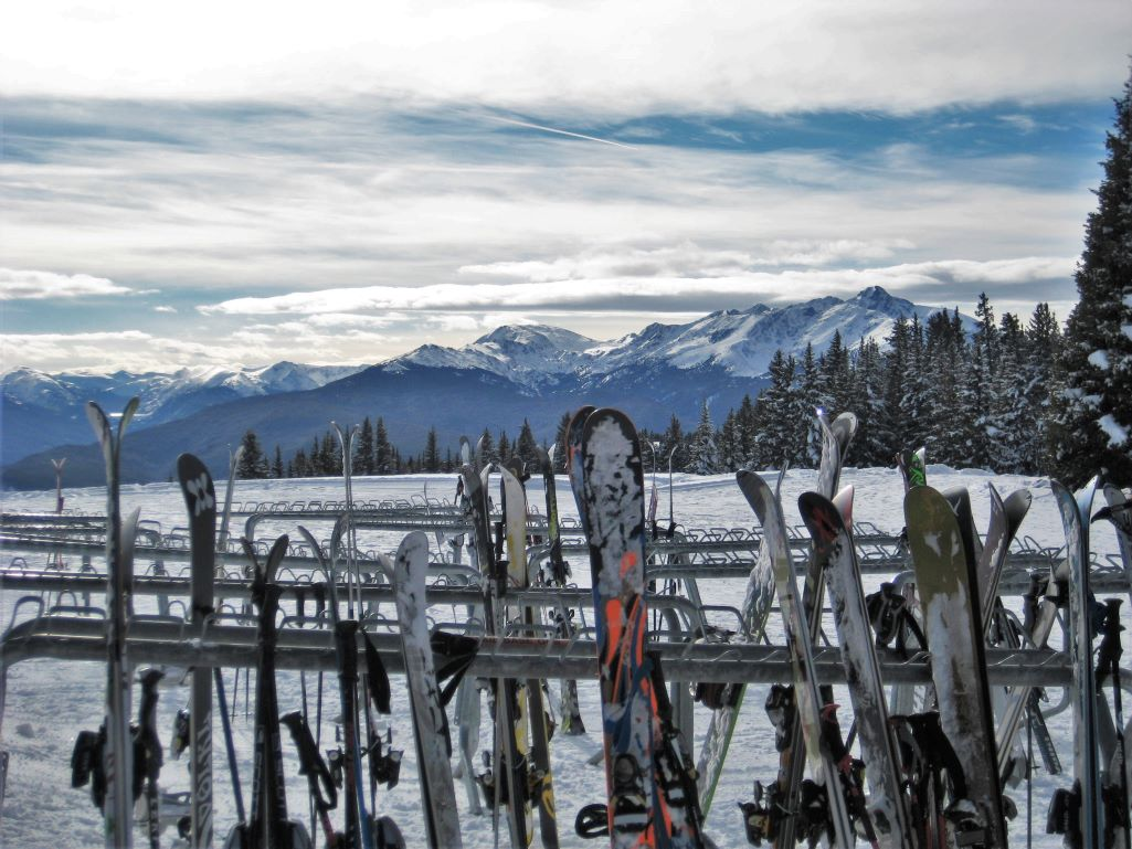 Skis on the Ski Rack